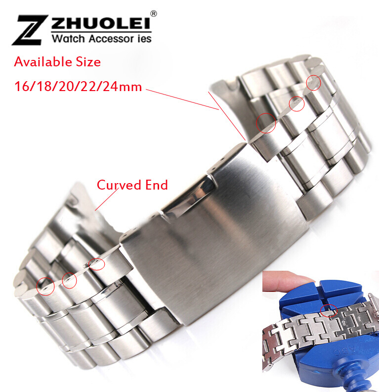 Silver black metal watch bracelets 16mm 18mm 20mm 22mm 24mm New women men's Stainless Steel Strap Replacement Wrist Watch Band 8 10 12 14 16mm 18mm 20mm 22mm 24mm black silver gold rose gold ultra thin stainless steel milan mesh strap bracelets watch band