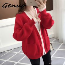 Genuo New 2019 spring autumn Womens and winter cardigan sweater new fashion casual Korean lazy wind knit jacket