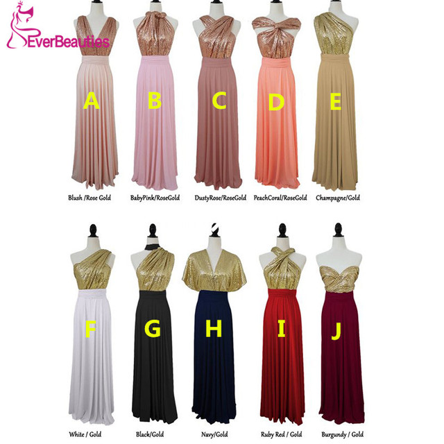 Robe Demoiselle D'honneur Bridesmaid Dresses Long 2019 Chiffon with Sequins Wedding Party Dresses Vestidos De Fiesta De Noche