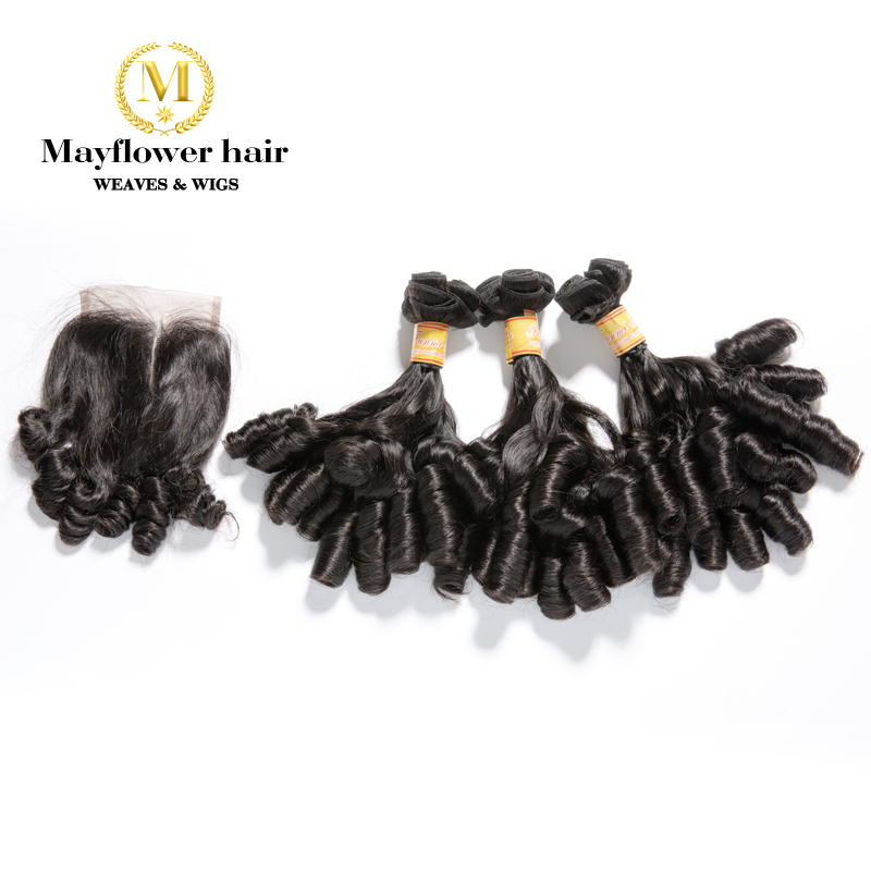 "Mayflower Funmi Hair Candy Curl 2/3/4 Bundles With 4x4 Closure Double Drawn Natural Black Remy Hair 8-18"" Mixed Free Shipping"