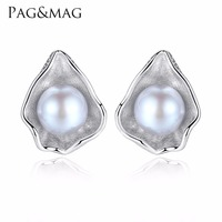 PAG MAG Charm Shell Design Pearl Jewelry 925 Sterling Silver Jewelry Fashion Gray Pearl Stud Earrings