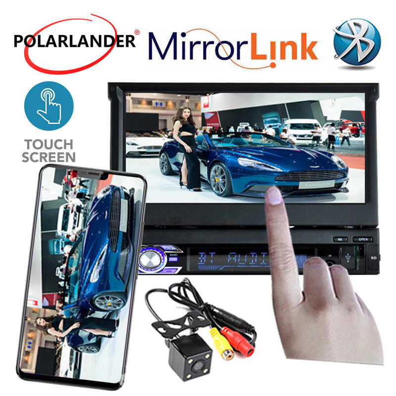 12V 7 Inch 1 DIN Car Touch Screen Bluetooth Stereo FM/USB/TF/AUX MP4 MP5 Radio Player Rear Camera input  Mirror Link