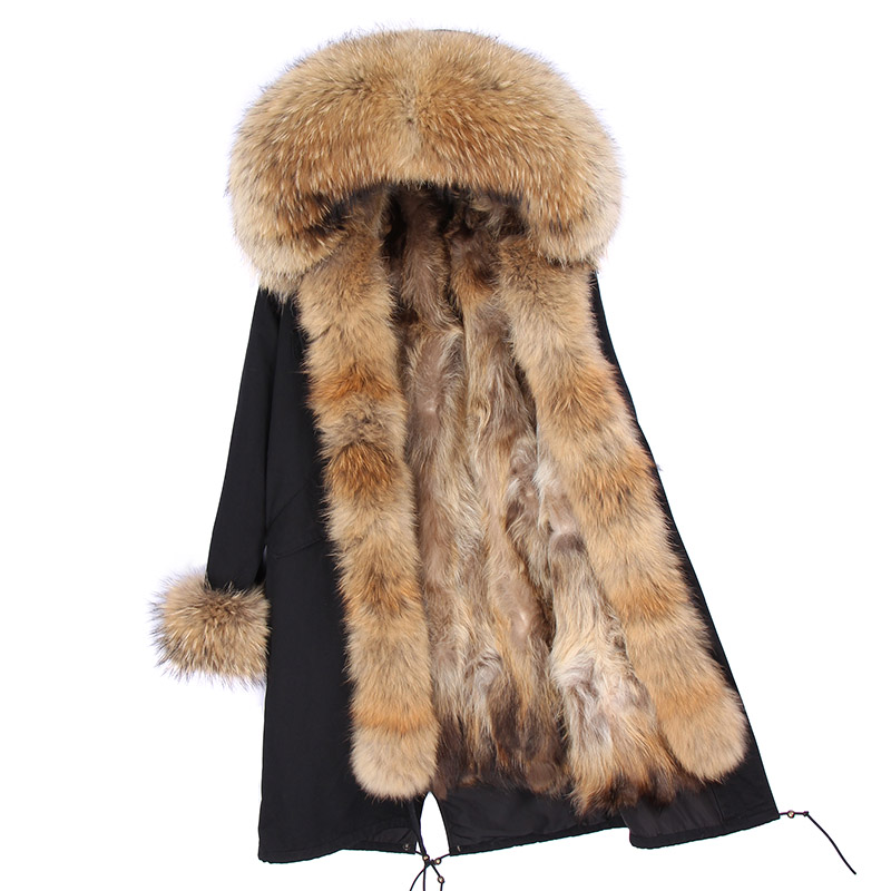 Décontractée Directes Longues Femmes raccoon Ventes 2018 Liner Nouveau Liner Raccoon Doublure Mode D'hiver Fourrure Veste Collier D'usine Fur Laveur Section De Naturel X Grande Raton awUqAU
