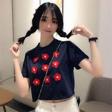 купить Women's summer small flower print short t-shirt Harajuku fashion trend round neck exposed navel t-shirt cute girl short sleeve дешево