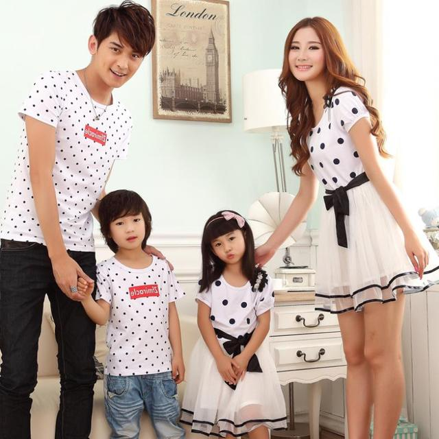 Family clothing cotton T-shirt + mesh stockings
