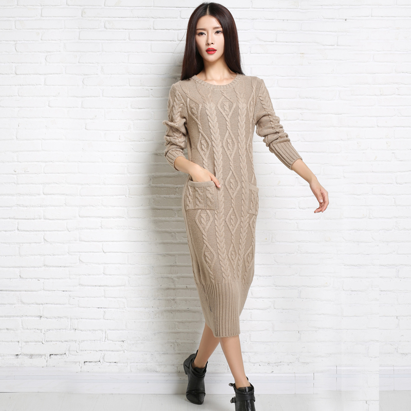 Winter Bodycon Wool Knitted Sweater Dress Long Sleeve Round Collar Thick Sweater Female Autumn Casual Solid Straight Dresses unisex illest letter hat gorros bonnets winter cap skulies beanie female hiphop knitted hat toucas outdoor wool men pom ball