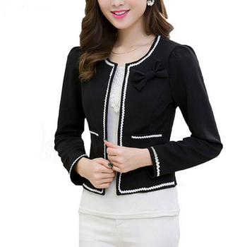 Fashion Hit Color Elegant Women Blazers Round Neck Long Sleeve Formal Jackets S-3XL Casaco Patch Bow Knot Slim Women Blazers