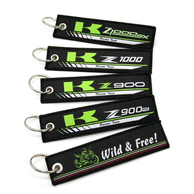For <font><b>Kawasaki</b></font> Z900 Z900RS Z1000 <font><b>Z1000SX</b></font> New <font><b>2019</b></font> Motorcycle Key Chain Woven Key Ring Tag Label Chain Black Car Keychain image