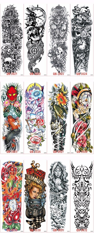 3st Vattentät Tillfällig Tatueringar Ärm Kroppskonst Män Kvinnor - Tatuering och kroppskonst - Foto 5