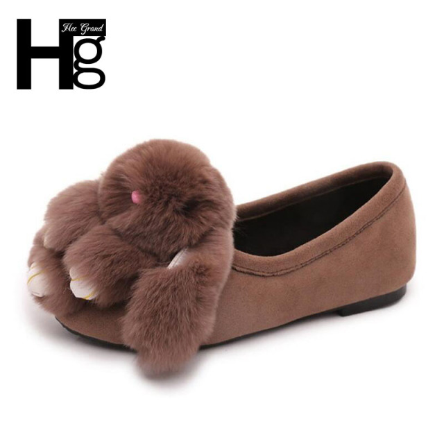 HEE GRAND Cute Rabbit Women Flat Shoes Korean Style Special Cartoon Rabbit Shoes for Woman Autumn Slip on Shoes XWD4622