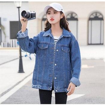 Autumn Women Denim Jacket BF Wind 2019 Vintage Harajuku Loose Female Jeans Jacket Coat Spring Solid color Slim Outwear DDD26 фото