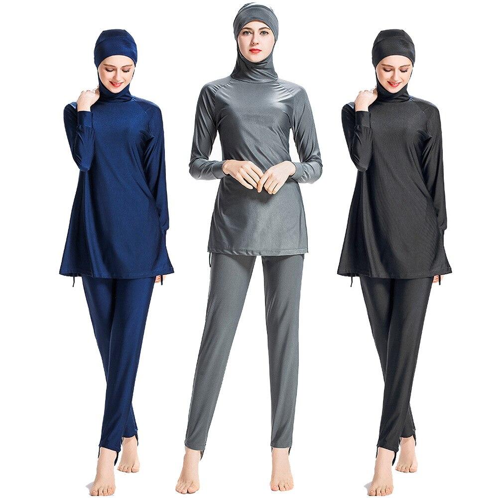 2018 Hoodie Modest Muslim Swimwear Women Islam Two Piece Full Cover Islamic Swimsuit Long Sleeve Hijab Solid 6XL Size Beachwear