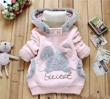 Novas crianças moda bebê menina casaco crianças bebê dos desenhos animados  menina espessamento Moletom Com Capuz casaco de Algod. 49e3f06876f42