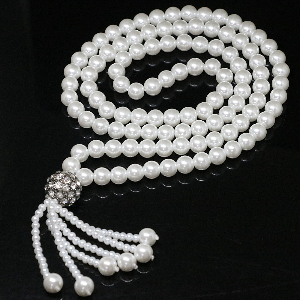 Beauty necklace white 8mm round shell simulated-pearl silver plated beads tassel pendant gift jewelry 32inch B1423