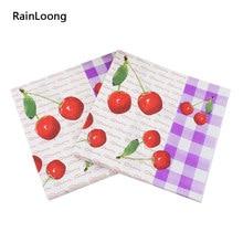 [Rainloong] cereja impresso guardanapo de papel fruta para festas & festa decoração tecido 33*33cm 1 pacote (20 unidades/pacote)