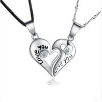 Free Shipping Hot Sell Love You Lovers Heart Couple Pendant 925 Sterling Silver Fashion Necklaces Jewelry