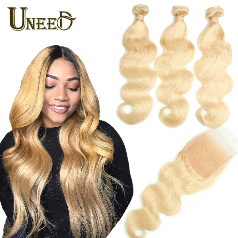 Human Hair Weaves Hot Sale Lekker 613 Blonde Bundles With Closure 2 3 Peruvian Straight Remy Human Hair Weave Bundles 613 Honey Blonde Bundles With Closure