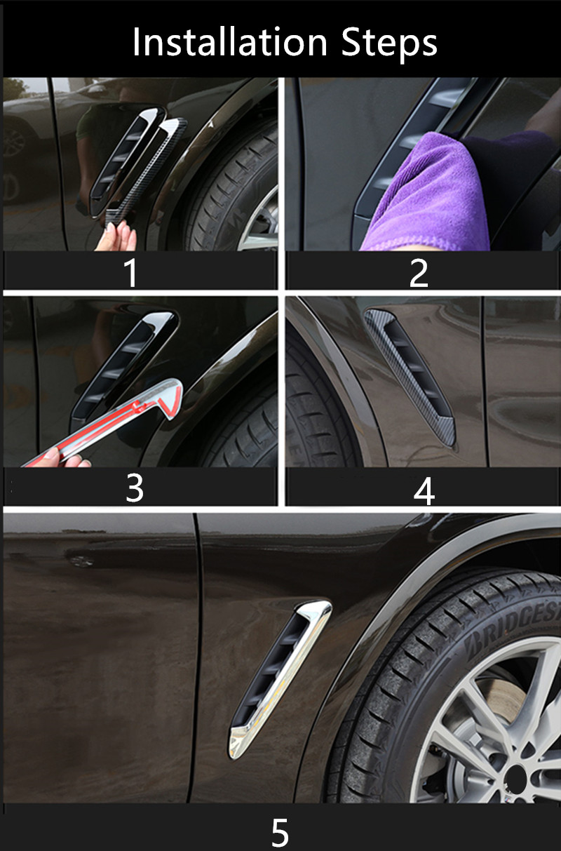 Xyh 2 x ABS parte delantera del coche guardabarros salida de aire del ajuste de la cubierta de la Serie X X5 F15 F85 x5m tibur/ón branquias laterales accesorios etiqueta engomada del coche de ventilaci