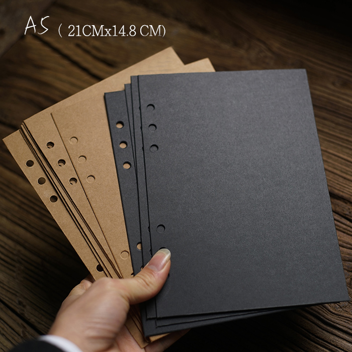1000g grand Vertical 6 trous 21*14.8 CM Kraft carte noire pour bricolage Album Photo ajoutant des Pages intérieures Scrapbooking 10/20/30 feuilles/ensemble