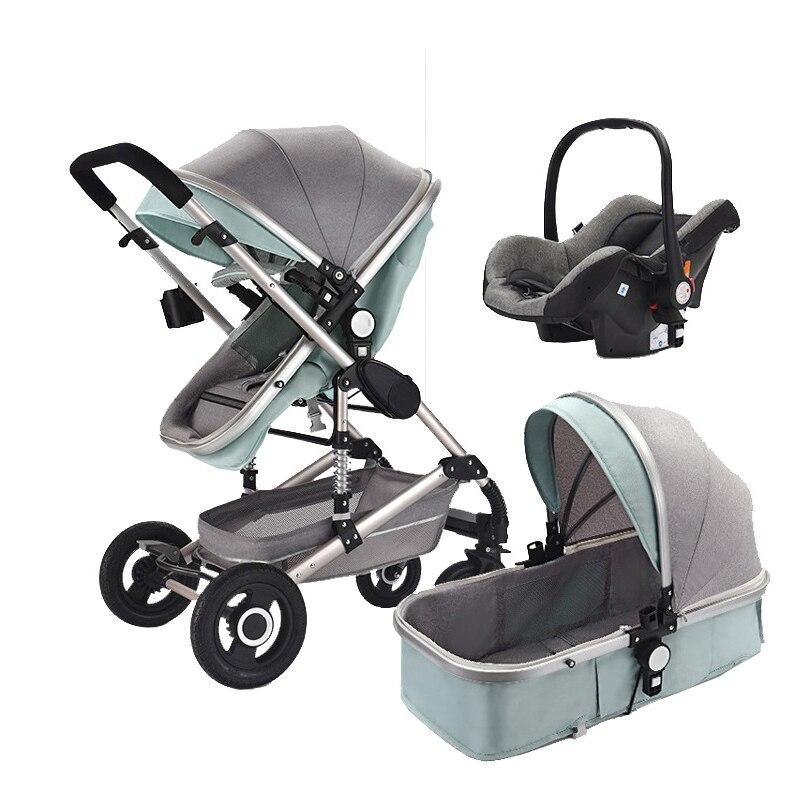 Carrinho De bebê Com Assento de Carro 3 Em 1 Oxford Pano Do Bebê Carrinho de Bebê Carrinho De Bebê Da Liga de Alumínio Ajustável Dormir Cesta