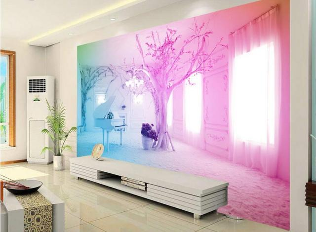 customize 3d wall papers home decor living room Pink piano snow 3d ...