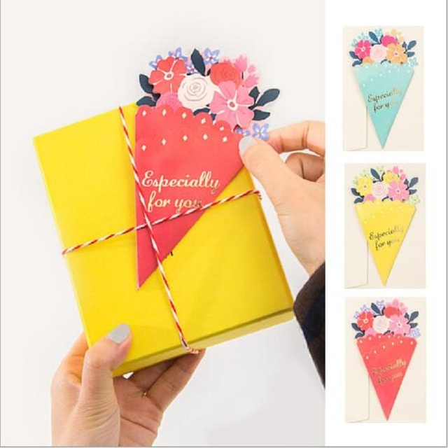 GC927 10pcs/lot 16x10.5cm Flower DIY Greeting Card Word