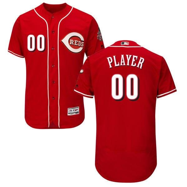 MLB Mens Cincinnati Reds Baseball Alternate Scarlet Home White Flex Base Authentic Collection Custom Jersey