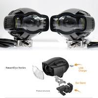 Moto antibrouillard universel 22-40mm IP65 LED phare de moto avec chargeur USB pour Yamaha Kawasaki BMW Honda KTM ATV UTV