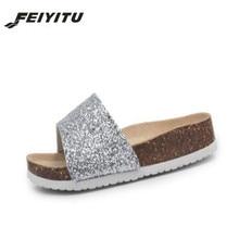 FeiYiTu 2018 New Bling Summer Cork Slipper Women Casual Beach Solid Color Flip Flops Slides Shoe Flat with Eu Size 35-41