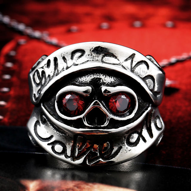 STAINLESS STEEL RED EYE SKULL RING