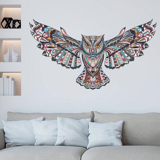 Colorful Owl Spread Winged