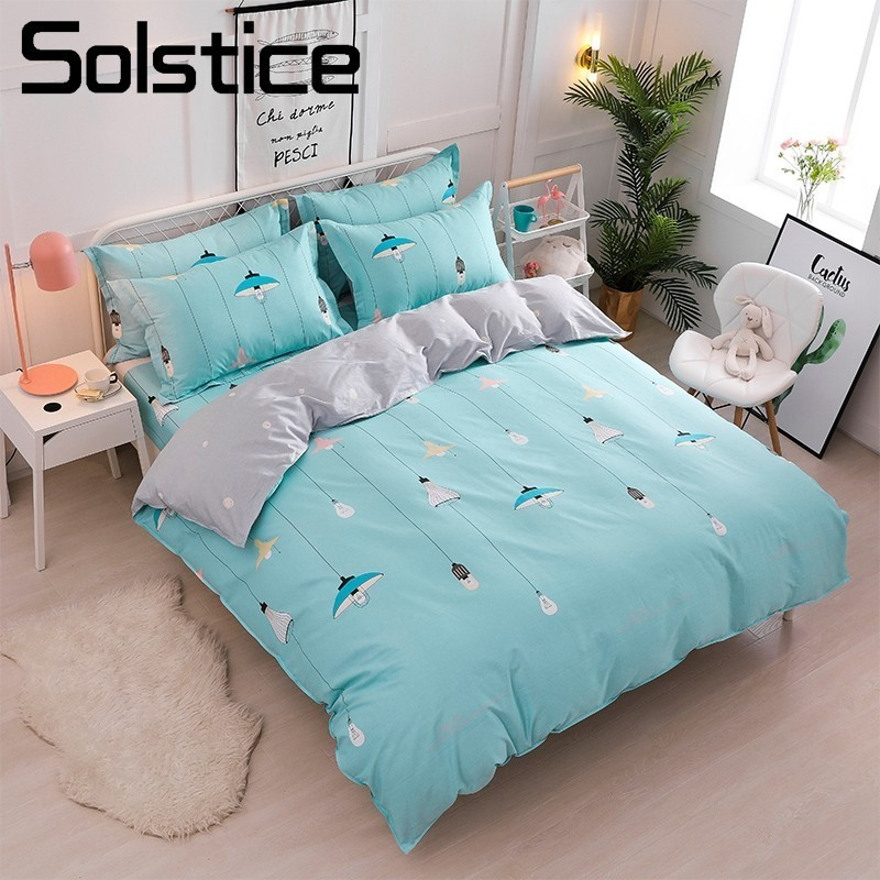 Solstice Home Textile 100% Cotton Bedding Set Girl Boy Kid Teens Bed Linen Lights Blue Duvet Quilt Cover Pillowcase Bed Sheet