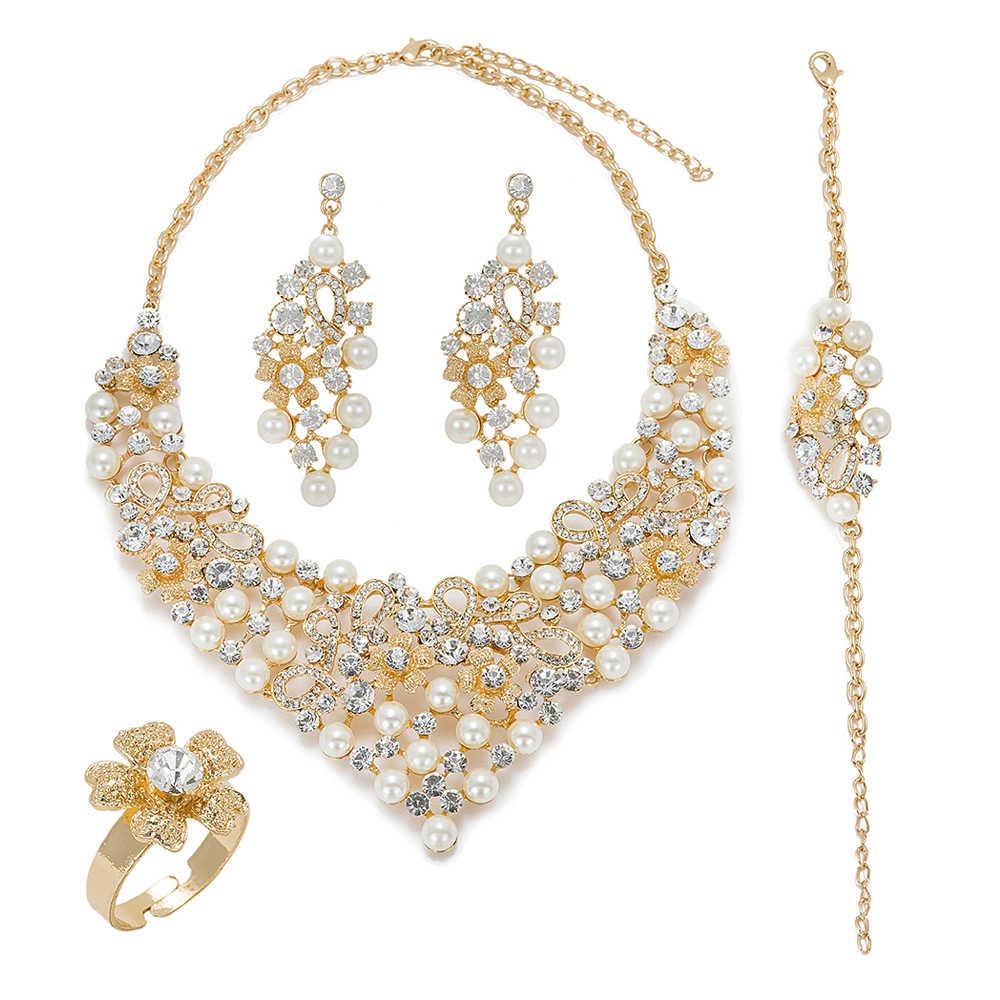 MuKun mode Afrikanische perlen schmuck sets für frauen hochzeit braut Dubai goldschmuck sets luxus Ägypten schmuck designer
