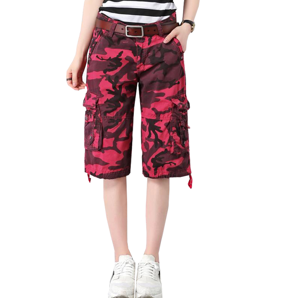 2019 New Loose Thin Summer Camouflage Shorts Women Plus Size Pockets Red Army Green Ladies Casual Shorts Zipper Short Feminino