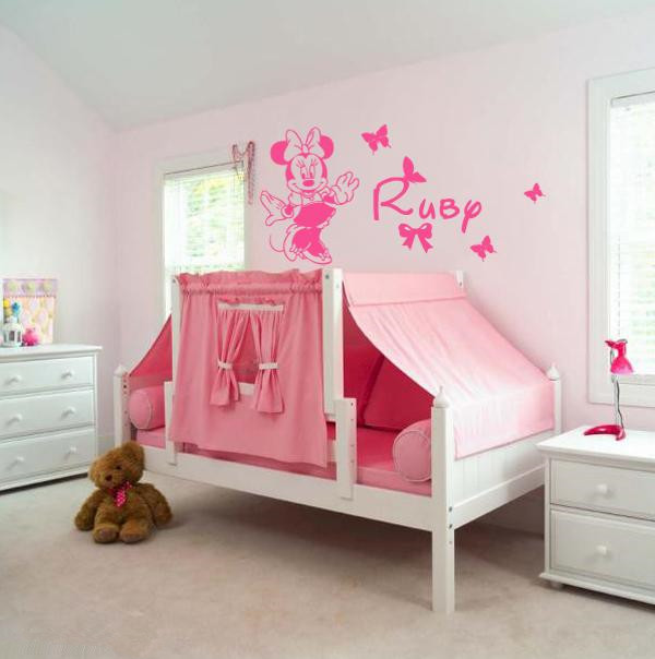 Personalise Name /& inspired Minnie DIY Removable wall sticker for kids
