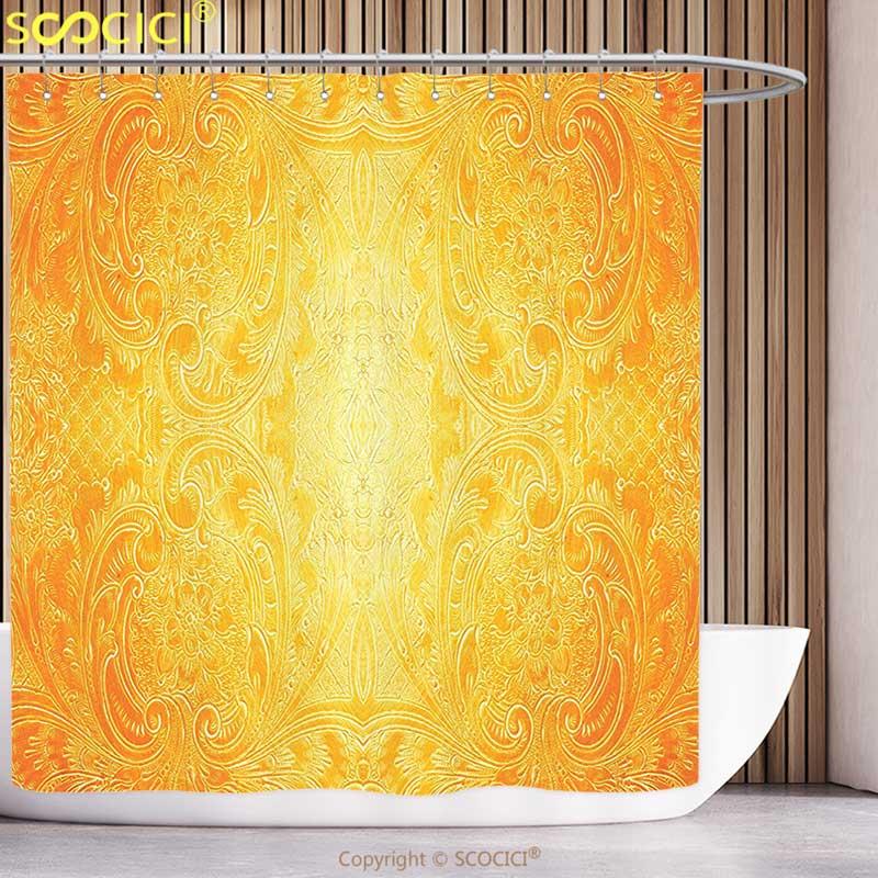 Decorative Shower <font><b>Curtain</b></font> Yellow Decor Victorian Style Antique Metal Pattern Ornamental Flourish Vintage Illustration Orange