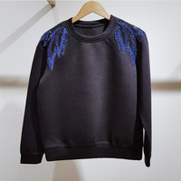 France style elegant women sequins embroidery sweatshirts 2018 Autumn winter hoodies Tops D888