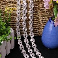 1 Yard AB Gold Silver Flatback Glass Alloy Rhinestones Applique for Clothes Bags Chain Trims DIY High Quality