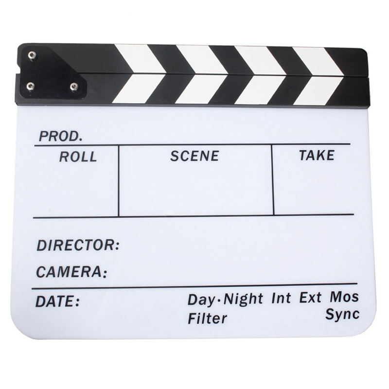 Acrylic Clapboard Dry Erase Movie Clapper Board Slate 29.8 x 24.5cm