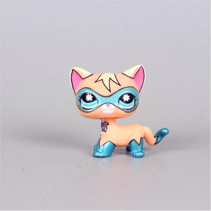 lps Pet Shop cat standing short hair cat super hero masked kitty animal Rare old toys original kitten