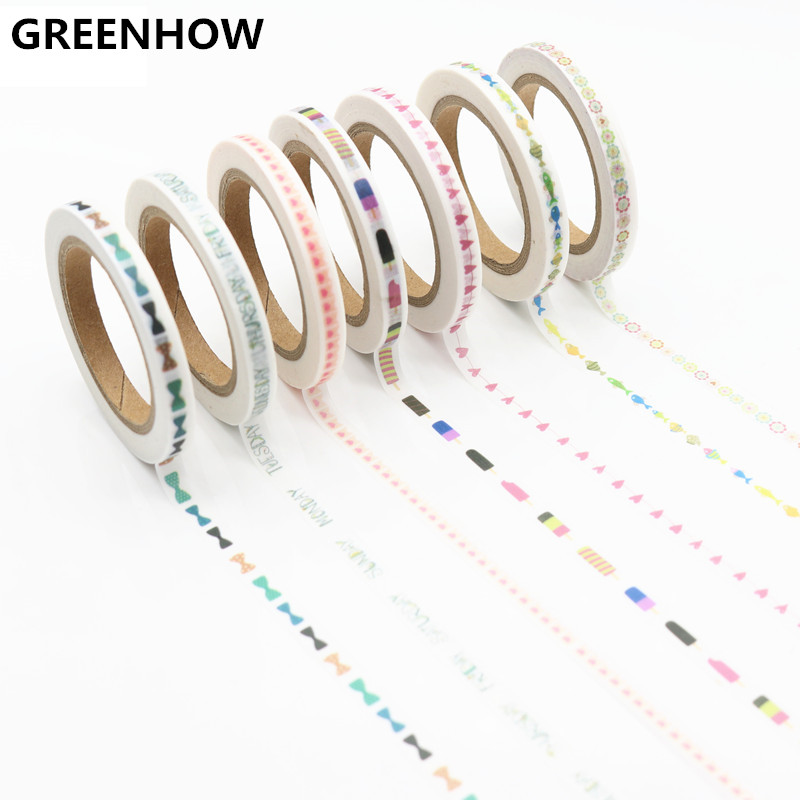 GREENHOW Cute Kawaii Flowers Masking Washi Tape Decorative Adhesive Tape Decor  Sticker Label Stationery 4100 e05 1 sheet my kawaii friends decorative adhesive stickers diy scrapbooking sticker stick label decor stationery kids gift