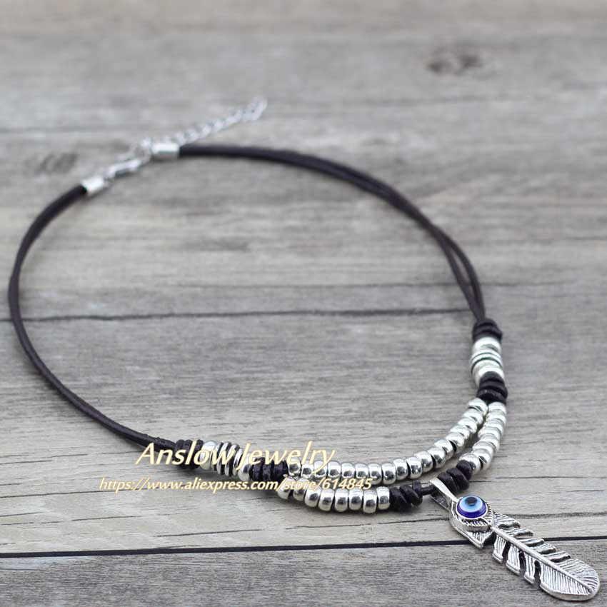 Anslow ราคาถูก 1 pcs Choker Mermaid Feather Choker สร้อยคอ Charms สำหรับผู้หญิงผู้ชายขายส่งของขวัญวันแม่ LOW0017AN