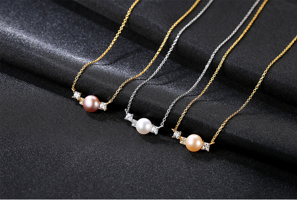 New S925 sterling silver necklace clavicle chain natural freshwater pearl pendant female accessories LSM04