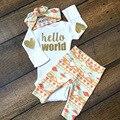 3 UNIDS Bebé Recién Nacido Bebés Fijados Ropa Lentejuelas Hola Mundo mameluco Pantalones Largos Diadema Conjunto Infantil Otoño de Los Niños Del Algodón traje