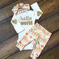 3PCS Newborn Baby Set Baby Girls Clothes Sequined Hello World Romper Long Pants Headband Infant Set Autumn Kids Cotton Baby Suit