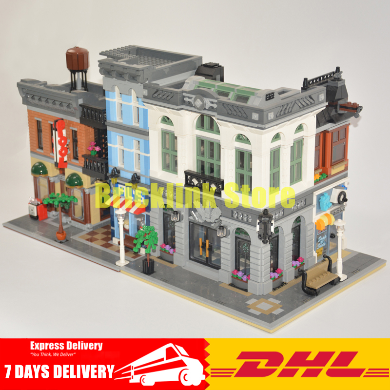 DHL LEPIN City Street Series 15001 Brick Bank+15011 The Detectives Office Model Building Blocks Bricks Toys 10251 10197