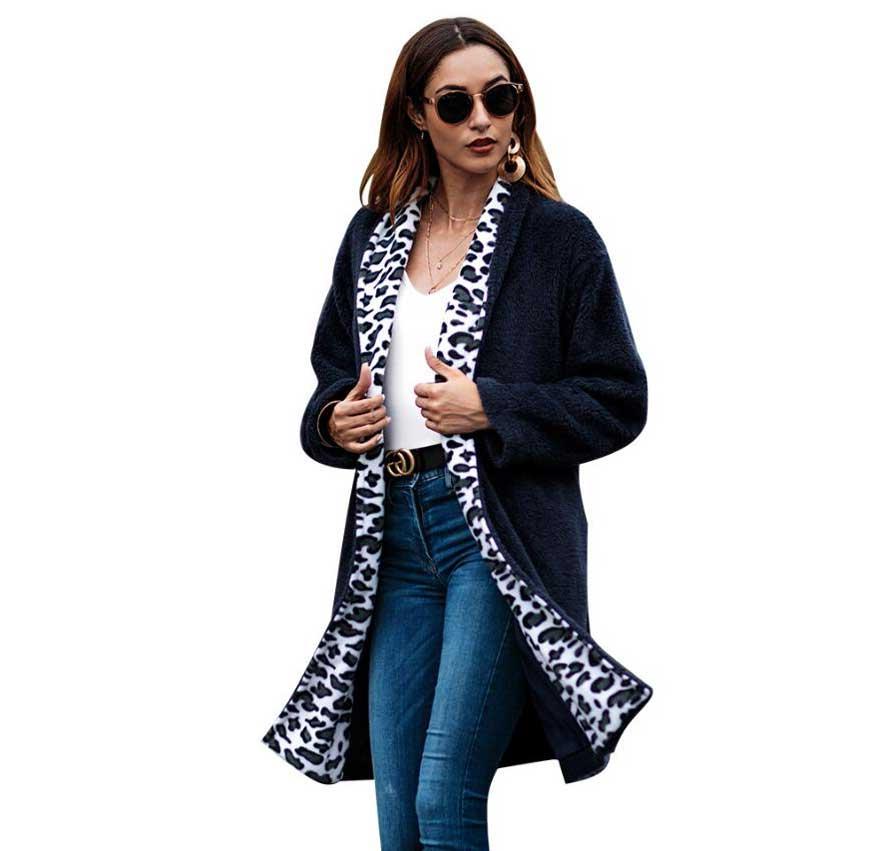 Abrigos Gris Blue Leopardo 2018 Invierno Primavera Otoño Mujeres Abierto  Moda Mujer verde Ropa Stitch dark Militar Solapa Felpa Largo AqEwFR4 5ff488042938