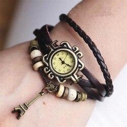 Gorąca sprzedaż wieża eiffla Ladies zegarki wysokiej jakości w stylu Vintage kobiety skóra quartz pasek bransoletka do zegarka na rękę zegar kobieta w Zegarki damskie od Zegarki na