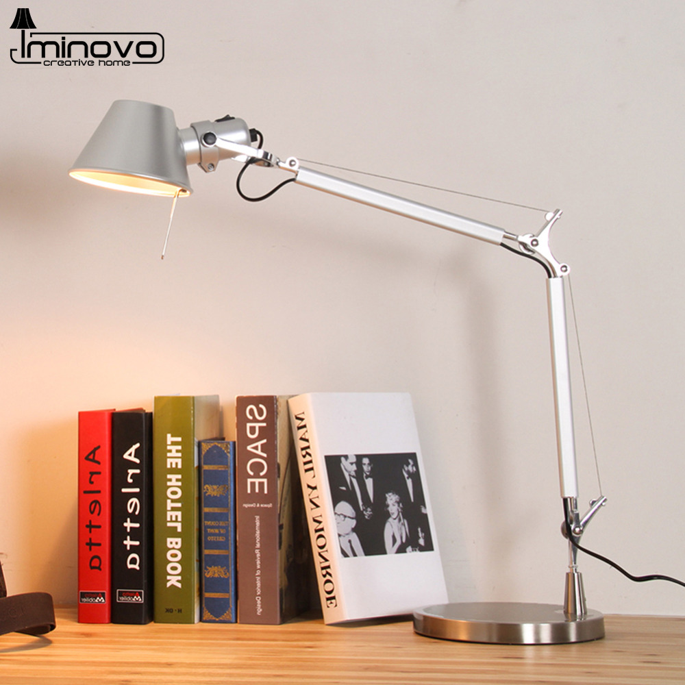 Iminovo folding table lamp led floor lamps bedroom silver for W home decor