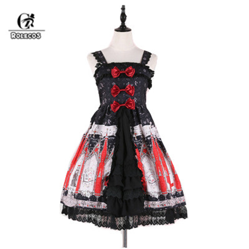 ROLECOS Sweet Printing <font><b>Lolita</b></font> Strap <font><b>Dress</b></font> Female Costumes Lovely Bowknot <font><b>Lolita</b></font> <font><b>Dress</b></font> For Women Slim Fit Suspender Skirt 2018 image